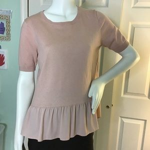 LOFT Blush Short Sleeve Ruffle Bottom Sweater Sz M